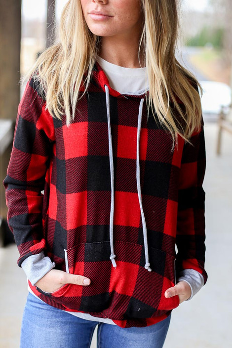 Buffalo Plaid Hoodie Close Up