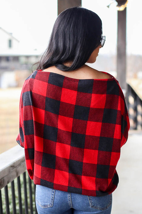 Model wearing the Red Buffalo Plaid Oversized Off the Shoulder Tunic from Dress Up Back View