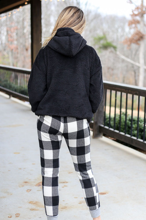 Buffalo Plaid Joggers Back View