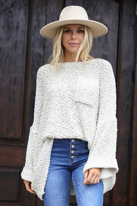 Ivory - Oversized Popcorn Knit Sweater from Dress Up