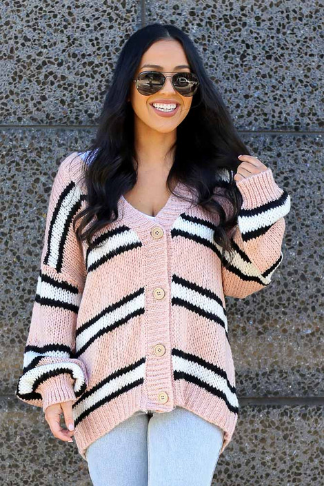 Dress Up model wearing the Chunky Knit Cardigan Sweater buttoned up