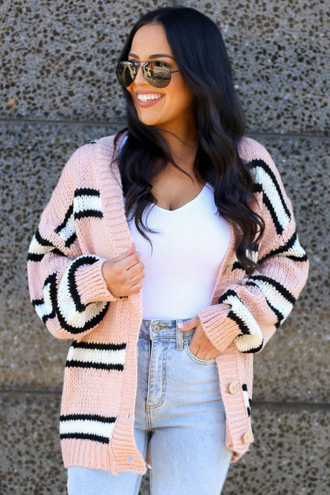 Blush - Chunky Knit Cardigan Sweater