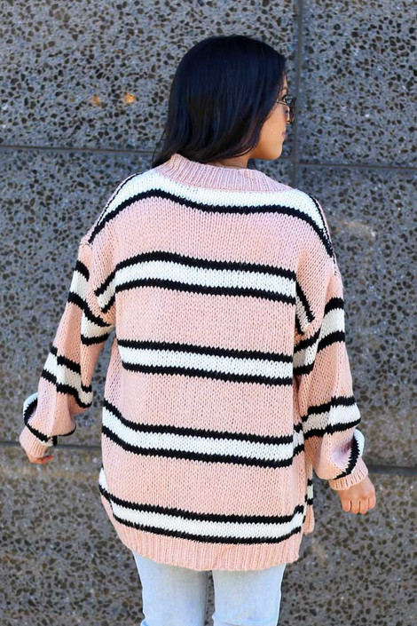 Chunky Knit Cardigan Sweater Back View