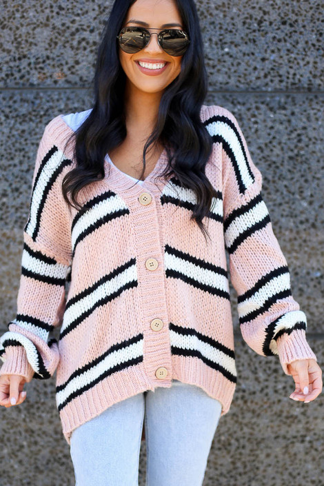 Blush - Chunky Knit Cardigan Sweater from Dress Up