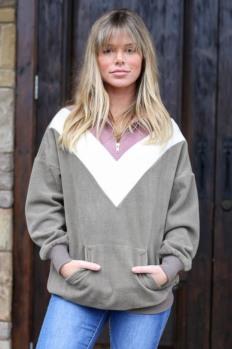 Olive - Fleece Quarter Zip Pullover