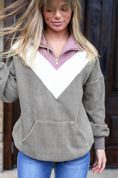 Olive - Fleece Quarter Zip Pullover from Dress Up