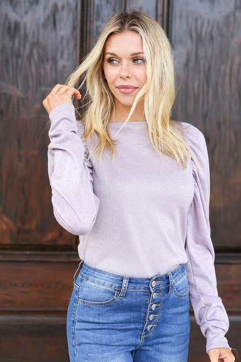 Model wearing the Lilac Glitter Knit Top Front View