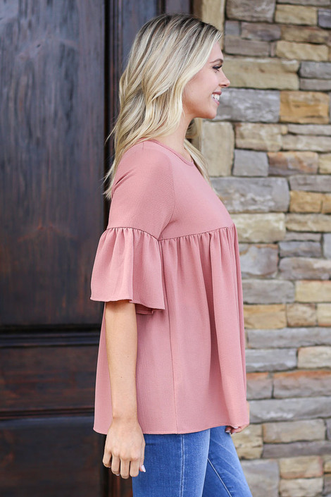 Ruffle Sleeve Babydoll Blouse in Marsala Side View