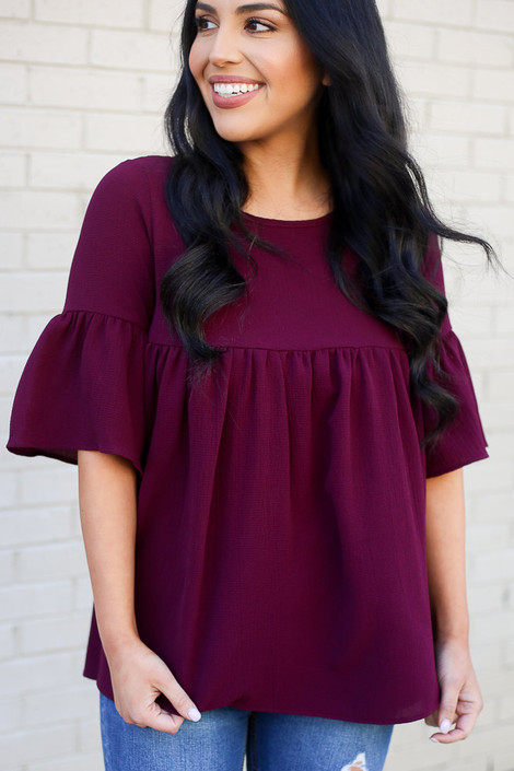 Burgundy - Ruffle Sleeve Babydoll Blouse from Dress Up