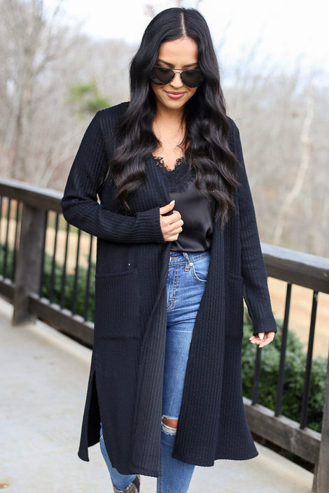 Black - Ribbed Knit Longline Cardigan