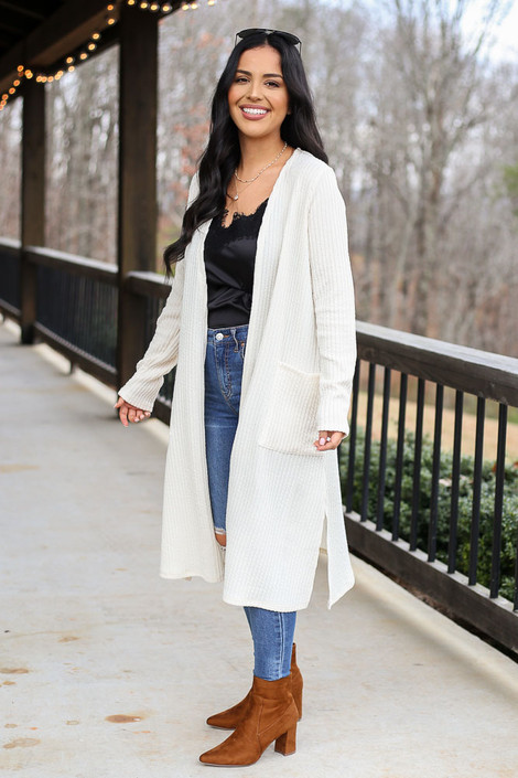 Ivory - Ribbed Knit Longline Cardigan in Ivory