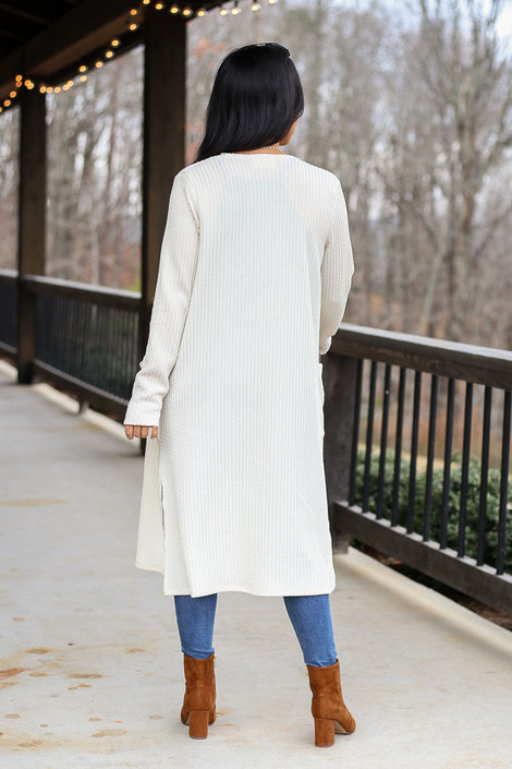 Ivory - Ribbed Knit Longline Cardigan in Ivory Back View