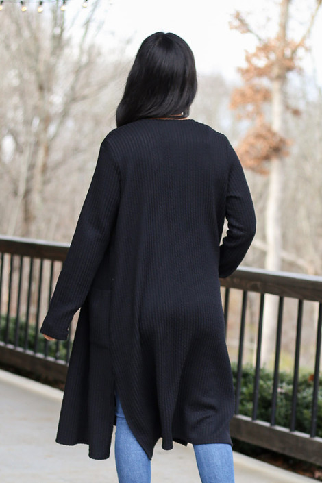 Ribbed Knit Longline Cardigan in Black Back View