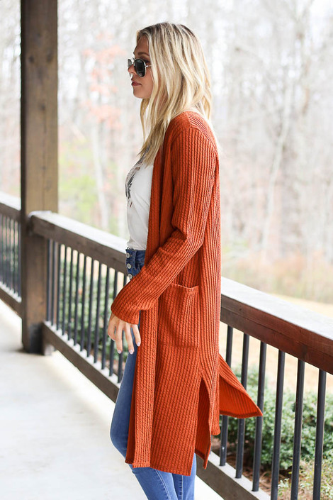 Ribbed Knit Longline Cardigan in Rust Side View