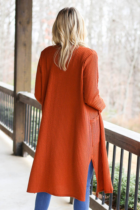 Ribbed Knit Longline Cardigan in Rust Back View