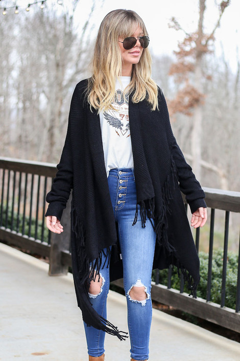 Black - Ribbed Knit Fringe Cardigan