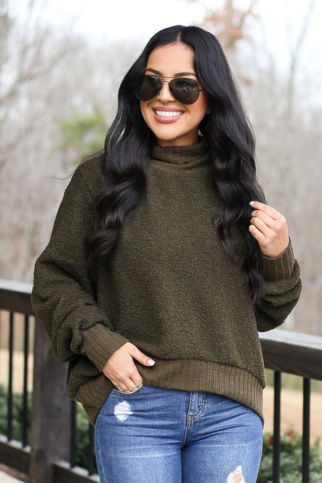 Olive - Teddy Sherpa Turtleneck Sweater from Dress Up