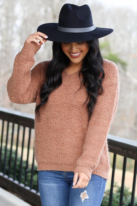 Model wearing the Camel Fuzzy Sherpa Sweater from Dress Up Front View
