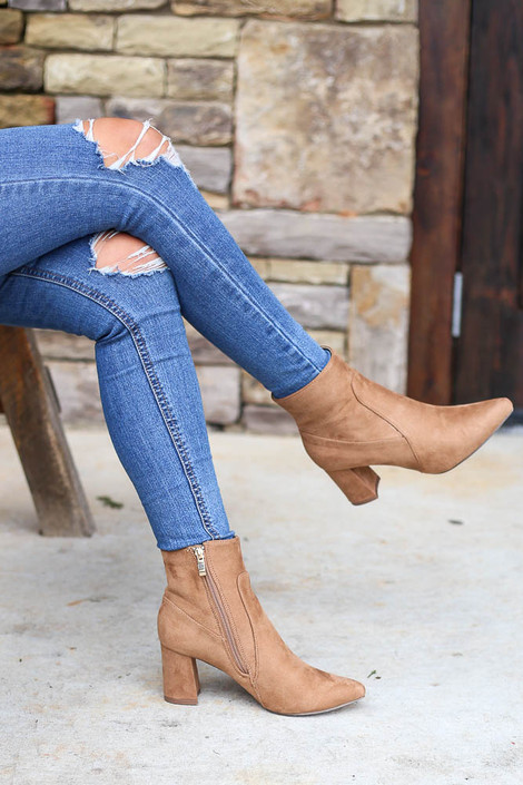 Tan - Pointed Toe Block Heel Booties from Dress Up