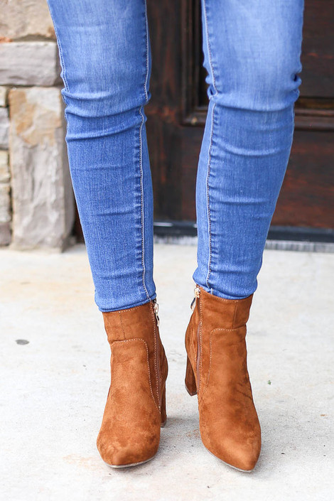 Camel - Pointed Toe Block Heel Booties from Dress Up