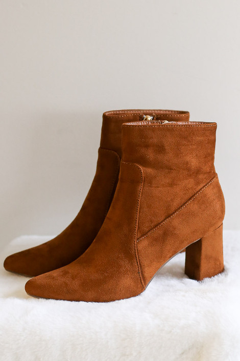 Pointed Toe Block Heel Booties in Camel Flat Lay from Dress Up Side View