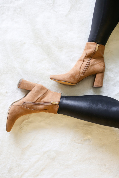 Tan - Pointed Toe Block Heel Booties
