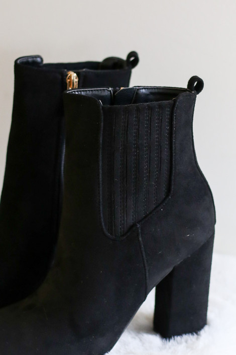 Close Up on the Black Block Heel Ankle Booties from Dress Up
