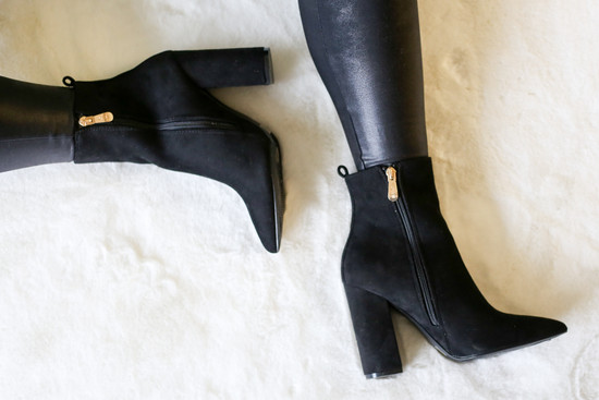 Model wearing the Black Block Heel Ankle Booties with Faux Leather Leggings from Dress Up Flat Lay View