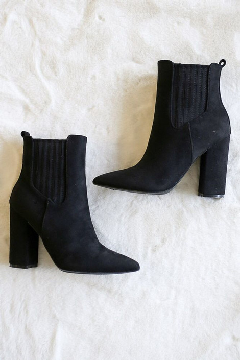 Black - Block Heel Ankle Booties Flat Lay