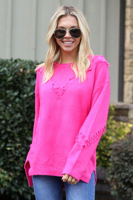Neon Pink - Brushed Knit Oversized Sweater