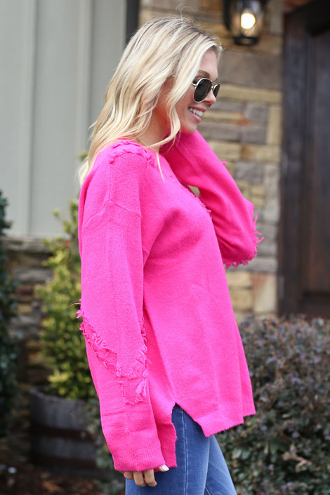 Brushed Knit Oversized Sweater Side View