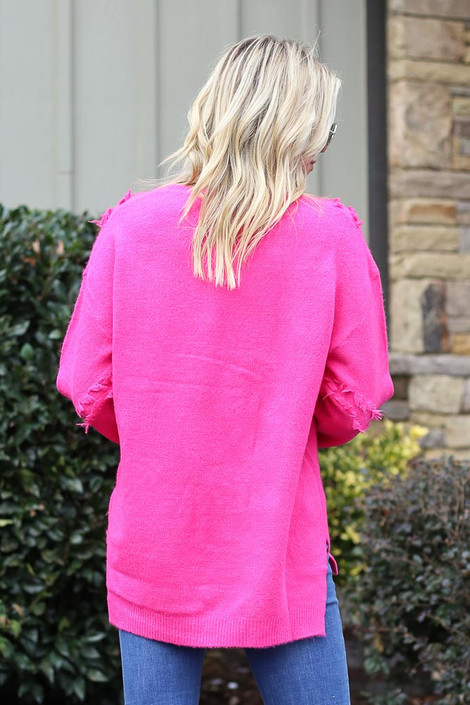 Brushed Knit Oversized Sweater Back View