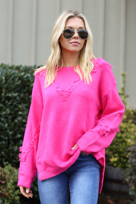 Dress Up model wearing the Brushed Knit Oversized Sweater with skinny jeans