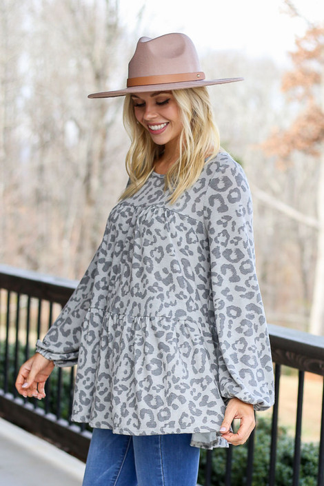 Grey - Leopard Tiered Babydoll Tunic from Dress Up