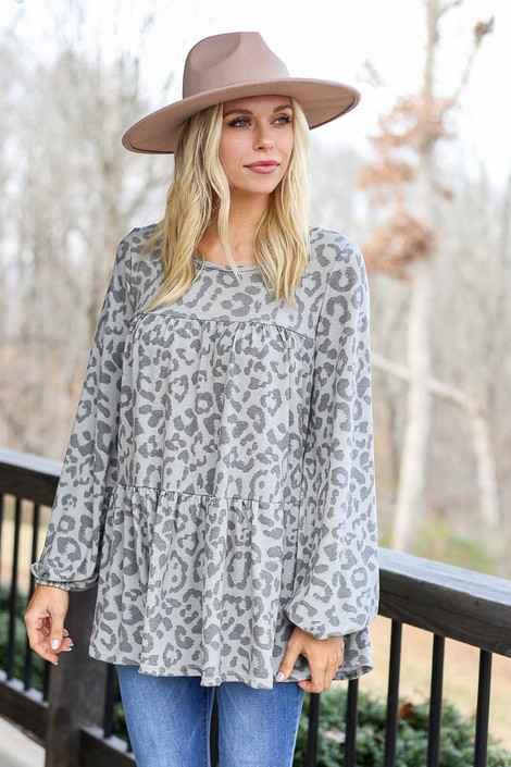 Grey - Leopard Tiered Babydoll Tunic