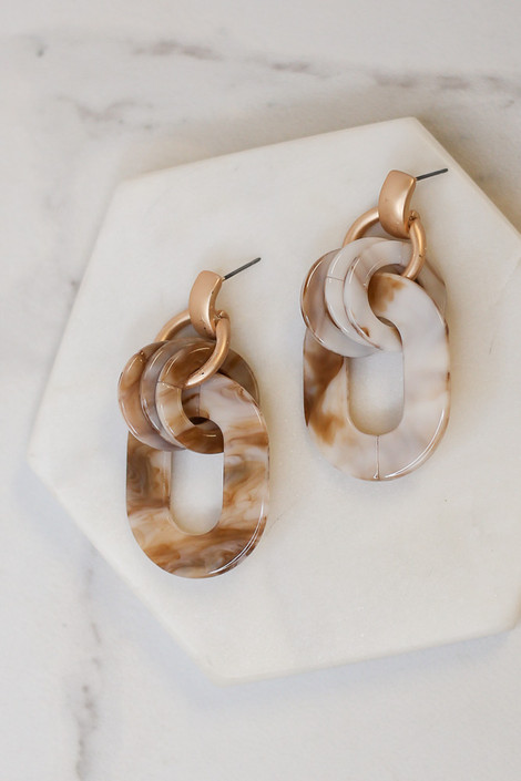 White - Flat lay of the Acrylic Statement Earrings