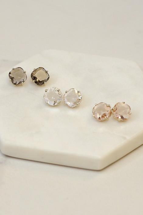 Clear - Flat lay of all three earrings in the Gemstone Stud Earrings set