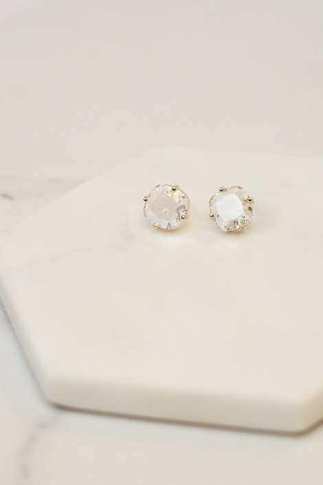 Clear - Flat lay of the clear pair of earrings in the Gemstone Stud Earrings