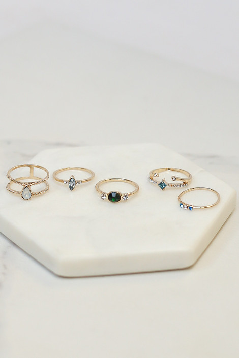 Gold - Stone Dainty Ring Set