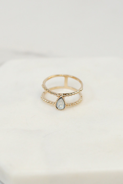 Flat Lay of  double ring from the Gold Stone Dainty Ring Set