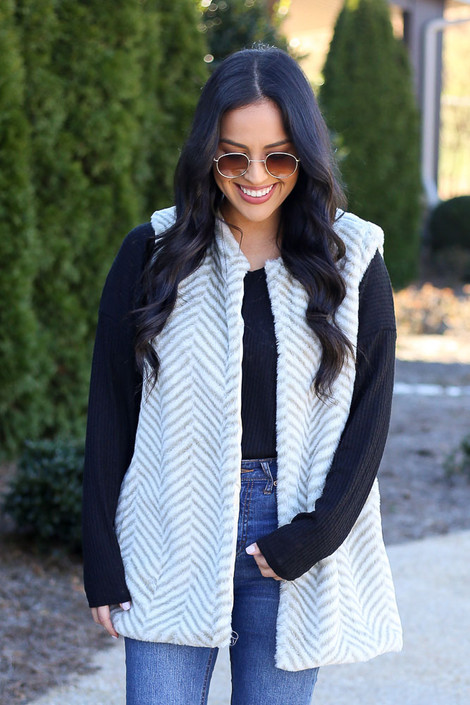 Taupe - Chevron Faux Fur Vest from Dress Up