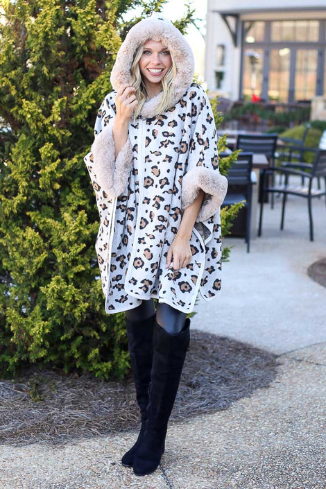 Ivory - Fur Lined Leopard Knit Cape from Dress Up