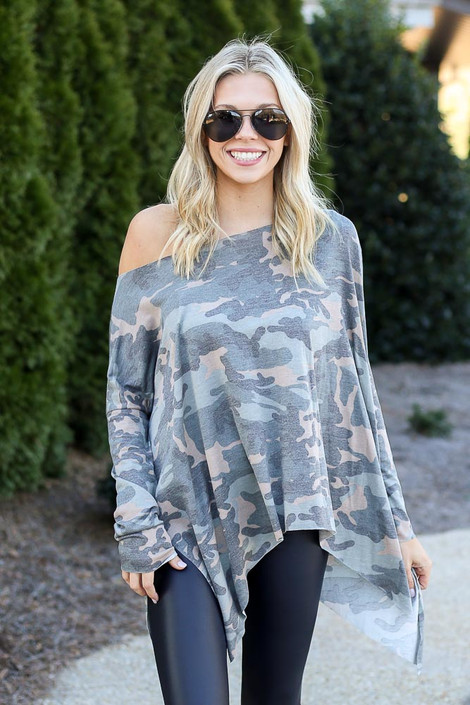 Camo - Asymmetrical Raw Hem Top from Dress Up