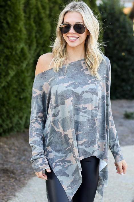 Model wearing the Camo Asymmetrical Raw Hem Top from Dress Up Front View