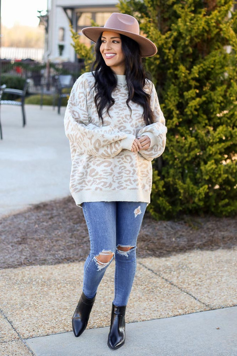 Ivory - Leopard Brushed Knit Oversized Sweater from Dress Up