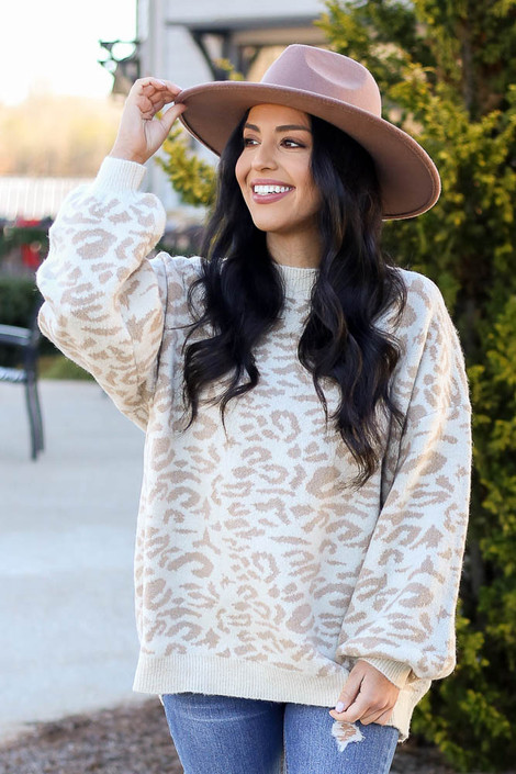 Ivory - Leopard Brushed Knit Oversized Sweater