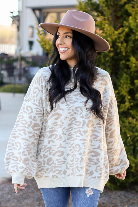 Model wearing the Leopard Brushed Knit Oversized Sweater with Wide Brim Hat from Dress Up Front View