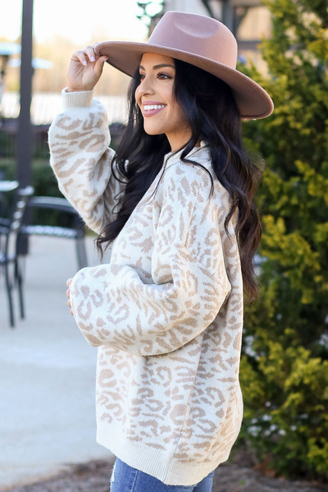 Model wearing the Leopard Brushed Knit Oversized Sweater Side View