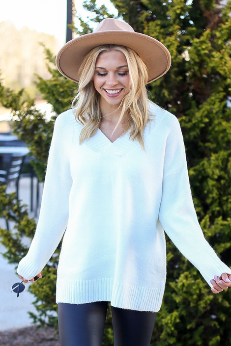 Ivory - Brushed Knit Oversized Sweater