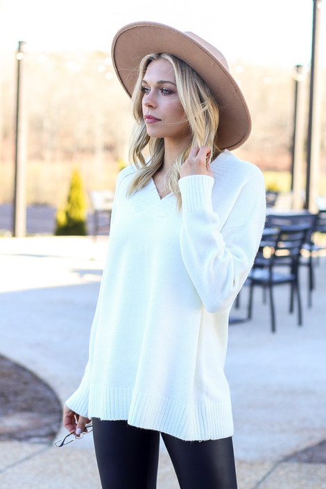 Ivory - Brushed Knit Oversized Sweater from Dress Up
